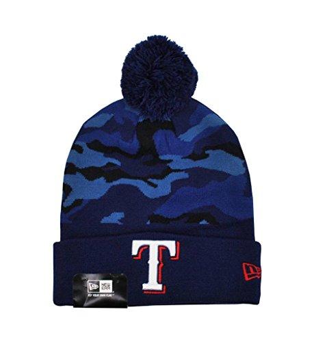 New Era Unisex Texas Rangers Beanie Camo Knit Hat Blue One Size