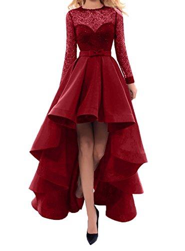 Partykleider Schleppe Sexy Abschlussballkleider Mini Abendkleider Weinrot Linie lo Rock A Charmant Damen Promkleider Hi mit B8WO5wcfFq