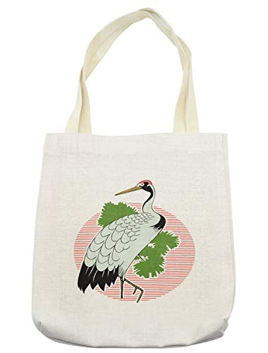Lunarable Crane Tote Bag, Japanese Grus Bird on a Background of Striped Sunset Figure and Green Leaves Asian, Cloth Linen Reusable Bag for Shopping Groceries Books Beach Travel & More, Cream ()