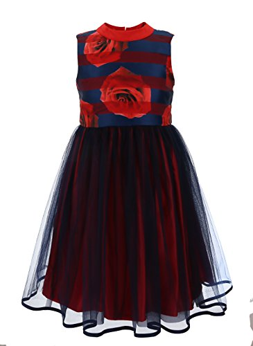 Price comparison product image Emma Riley Girls' Transparent Print Rose Dress with Mesh Skirt 10 Red