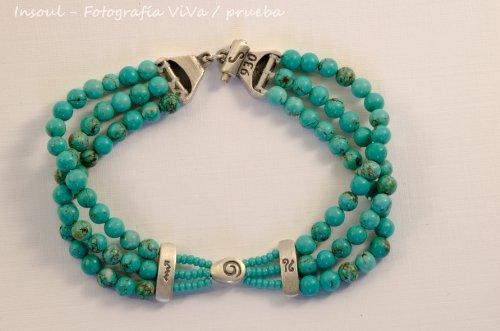 Triple Strand Turquoise Bead - Turquoise Triple Stone Bracelet