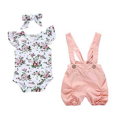 0-18M Cute Newborn Girl Floral Romper Covers Pink Suspender Shorts Bib Pant Headpiece 3PCS Outfits Girls Clothes Set Full Moon Present