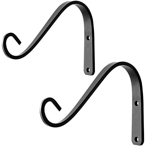 Decorative Outdoor Hanger - VEEBOOD ZW-02 2Pcs 6-Inch Metal Hanging Plants Brackets Outdoor Decorative Plant Wall Hooks Hangers for Hummingbird Feeders Lanterns Small Planters, Black