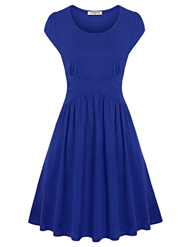 Jazzco Dress for Women Cocktail, Women Short Sleeve Formal Bridesmaid Ruched Empire Waist A Line Summer Casual Designers Petite Comfy Swing Regular Flowy Hem - Cotton Dress Surplice