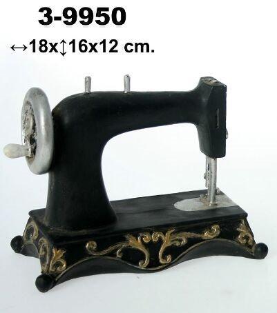 DonRegaloWeb - Figura de una máquina de coser antigua de resina decorada con colores negro,