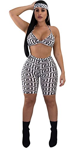 Women Two Piece Outfit Halter Print Sport Bra Crop Top Legging Short Pant Set with Headband White - Halter Set Capri