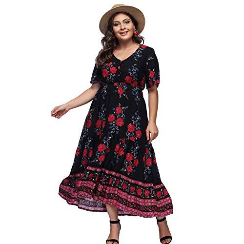 Largo Corta Negro Falda Mujer Fiesta de Talla para Verano Grande Manga Bolsillo Elegante Floral Moda Maxi Suleto Vestido Estampada Moda Ropa Playa Top q7Cdw1q