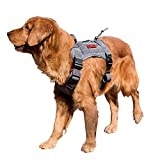 OneTigris Tactical Dog Vest Harness – Water-Resistant Comfortable Military Patrol K9 Service Dog Harness with Handle (Large, Grey)