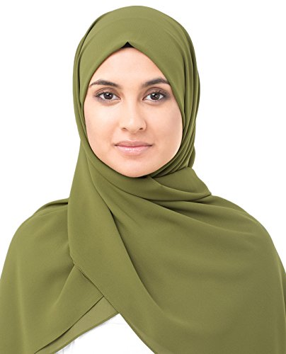 InEssence Olive Drab Green Poly Georgette Scarf Women Girls Wrap Medium Size ()