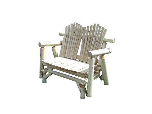 (Rustic White Cedar Log Adirondack Glider Love Seat - Amish Made in the USA)
