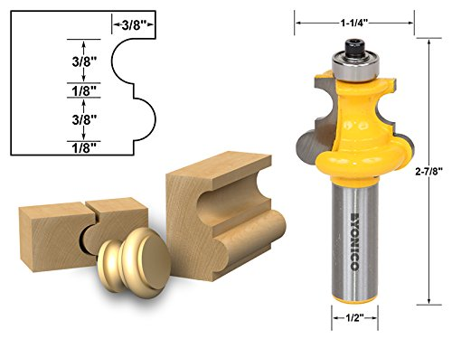 Yonico 16145 Flute and Bead Molding Router Bit 1/2-Inch Shank