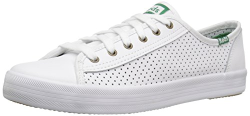 Keds Women's Kickstart Leather Fashion Sneaker,White,9.5 M US