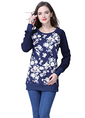 Emotion Moms Long Sleeve Winter Maternity Clothes Cotton Nursing Breastfeeding Tops for Pregnant Women