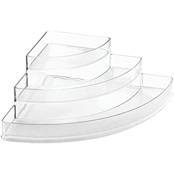 InterDesign Linus Corner Cosmetic Organizer for Vanity Cabinet to Hold Makeup, Beauty Products - Clear