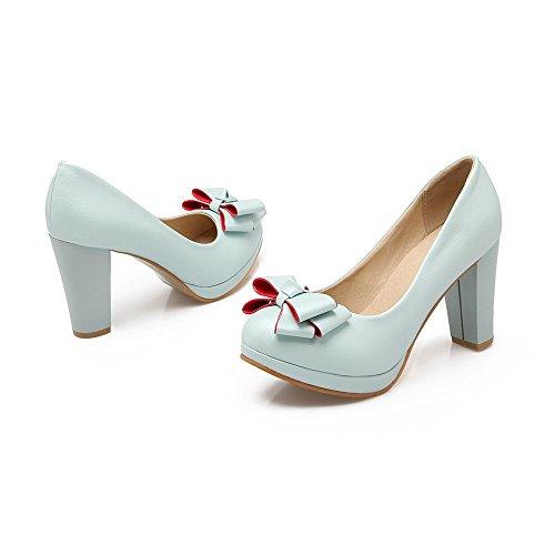 VogueZone009 Damen PU Leder Hoher Absatz Rund Zehe Rein Ziehen auf Pumps Schuhe Blau