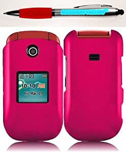 Accessory Factory(TM) Bundle (the item, 2in1 Stylus Point Pen) For Samsung Chrono 2 Contour R270 Rubberized Cover Case - Hot Pink