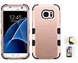 Galaxy S7 Case, [Rose Gold+Black] Shock Absorbing Two Layer Rubber Plastic Impact Defender Hard Cover Shell Momiji Cleaning Cloth, [Screen Guard] For Samsung Galaxy S7