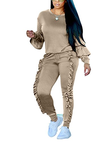 2 Piece Jogger (Two Piece Outfit Puff Sleeve Sweatshirt and Ruffle Long Jogger Pants Grey S)