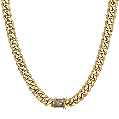 (QueenDream Miami Cuban Link Chain Men's Womens Yellow Gold Tone 14mm Cuban Curb Chain Link Necklace 28inches)