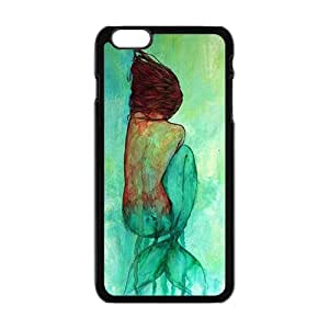 Watercolor Mermaid Black Phone Case for iPhone 6plus