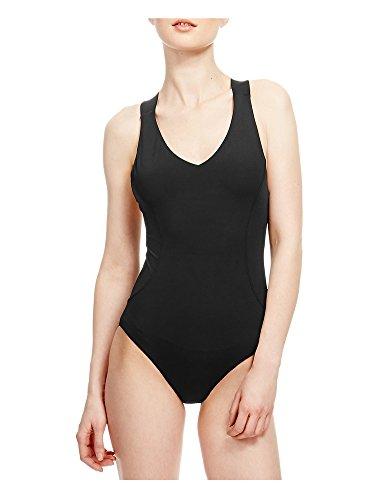 CutyKids Womens Plain High Cut Cross Back One Piece Swim Suit Swimwear Black L