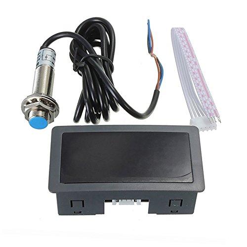 4 Tacó metro de pantalla LED digital Medidor de velocidad de RPM Tacó metro de alta precisió n con sensor de interruptor de proximidad Hall NPN Logicstring DZ1770