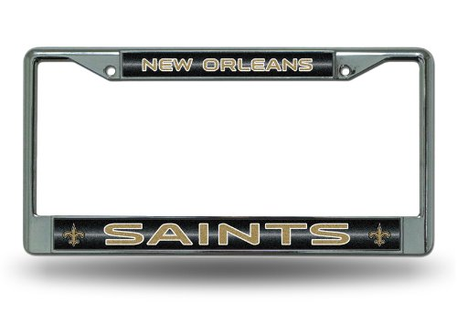 NFL New Orleans Saints Bling Chrome License Plate Frame with Glitter Accent