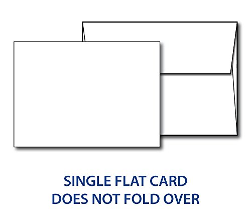 Heavyweight Blank White Flat Invitation A6 Cards with Envelopes - 4 1/2