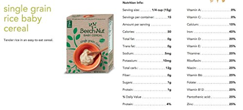 Variety Set of Beech-nut Single Grain Rice & Oatmeal Baby Cereal, 8 Oz. Boxes [1 of Each]