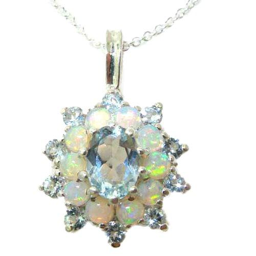 Ladies Solid 925 Sterling Silver Ornate Large Natural Aquamarine & Opal Large Cluster Pendant Necklace