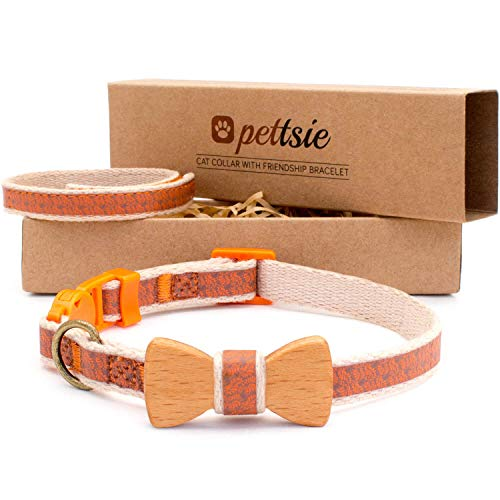 (Pettsie Cat Collar Safety Breakaway with Bow Tie and Friendship Bracelet for You, Durable 100% Cotton for Extra Safety, D-Ring for Accessories, Comfortable and Soft, Adjustable Size 8-11 Inch, Orange)