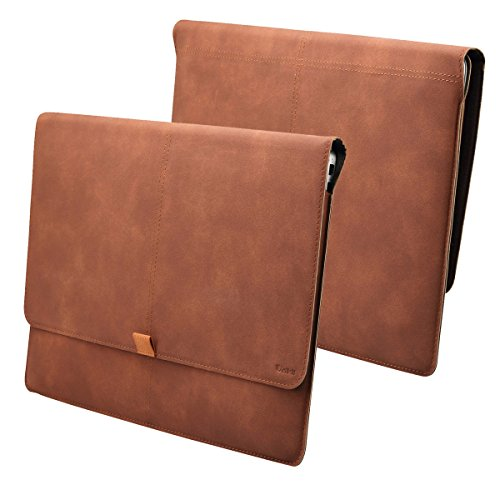 Valkit MacBook 12 inch Sleeve, Microsoft Surface 3 Sleeve, Valkit PU Leather Protective Notebook Carrying Case Cover for MacBook 12 inch A1534 & Surface 3 10.8 inch with Card Slot, Brown Color