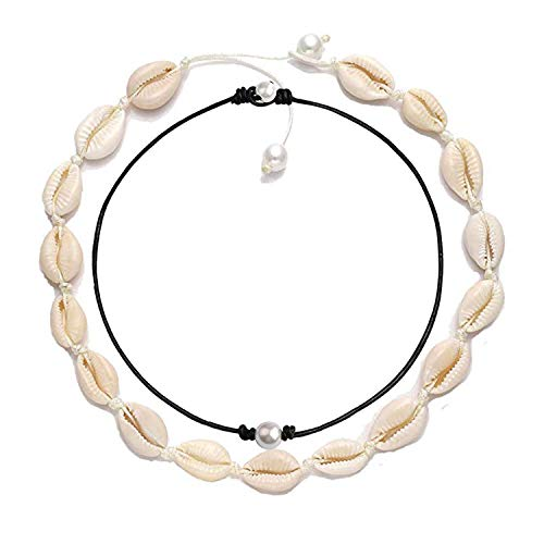 - Long tiantian Women Puka Shell Necklace Bracelet 2 Pcs Set Adjustable Leather Anklet Hawaii Beach Choker Jewelry for Girls (D:2set-1)