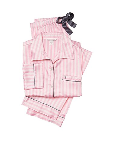 Victoria's Secret The Afterhours Satin Pajama 2 Piece Set Pink Stripe Large Regular