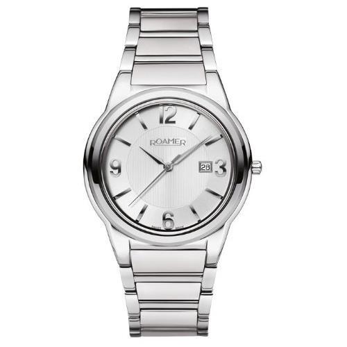Roamer Men's Swiss Elegance 41mm Steel Bracelet & Case Quartz Silver-Tone Dial Watch 507856-41-15-50