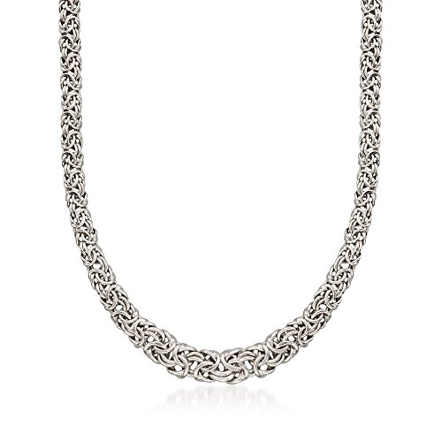 (Ross-Simons Italian Sterling Silver Graduated Byzantine Necklace)