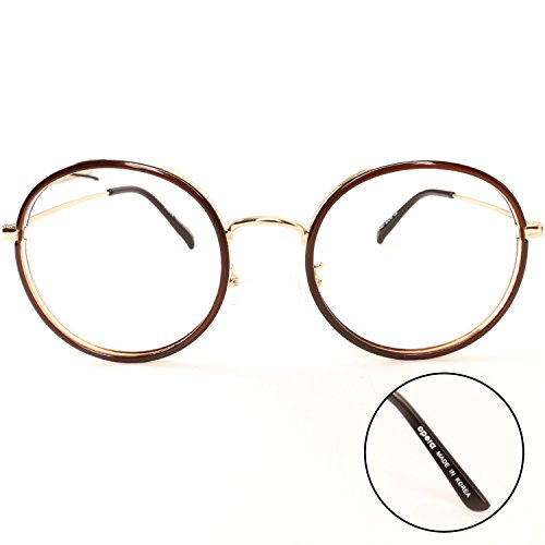 Luvoirgroup   Premium Classic Fashion Glasses Round Frame Brown Circle Vintage eyewear Clear Lens Eye Glasses   Beautiful for your fashion items. Made in - Korea Sunglasses