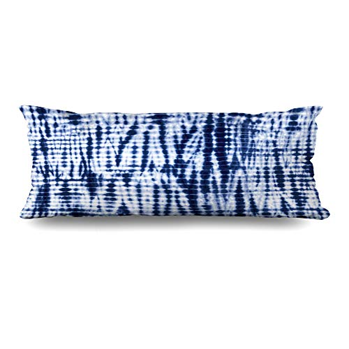 Ahawoso Body Pillows Cover 20x60 Inches Tie Navy Indigo Blue Tiedye Pattern Abstract Painting Dye Watercolor Batik Dyed Ink White Artistic Decorative Zippered Pillow Case Home Decor Pillowcase