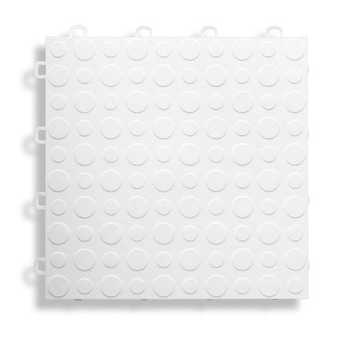 BlockTile B0US4130 Garage Flooring Interlocking Tiles Coin Top Pack, White, 30-Pack