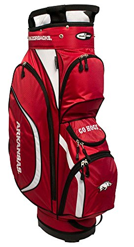 Team Golf NCAA Arkansas Razorbacks Clubhouse Golf Cart Bag, Lightweight, 8-Way Top with Integrated Handle, 6 Zippered Pockets, Padded Strap, Towel Ring, Umbrella Holder & Removable Rain Hood ()