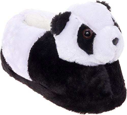 Silver Lilly Panda Bear Slippers - Plush Animal Slippers w/Comfort Foam Support (Black & White, L)