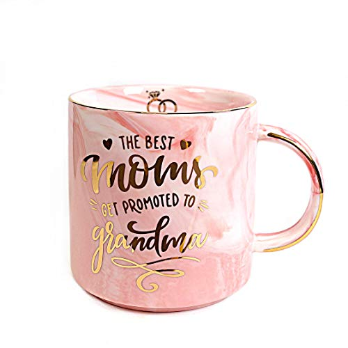 Vilight Grandma Mug - Christmas and Birthday Gifts for Grandmother - THE BEST MOM GET PROMOTED TO GRANDMA - Pink Marble Ceramic Coffee Cup 11oz