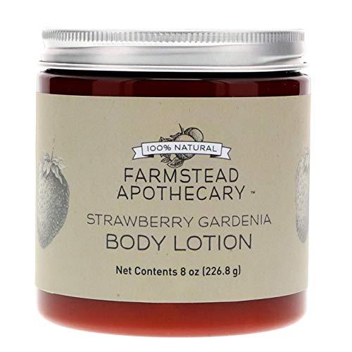 Farmstead Apothecary 100% Natural Body Lotion with Organic Safflower Oil, Organic Sunflower Oil & Organic Vitamin E Oil, Strawberry Gardenia 8 oz