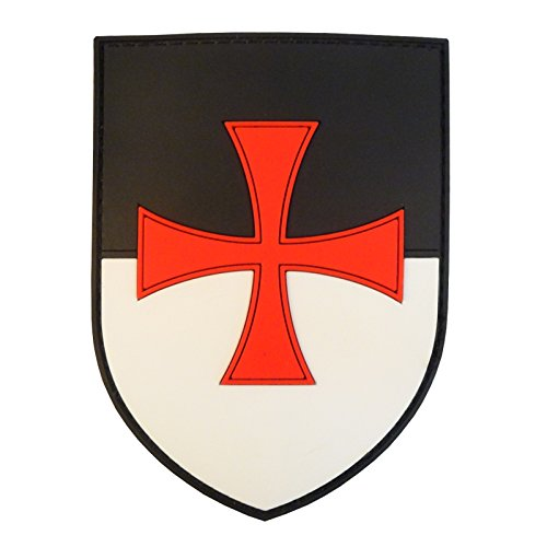 LEGEEON Knights Templar Cross Shield Crusaders Tactical Morale PVC 3D Rubber Patch ()
