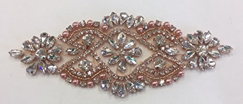 Rhs Rose - ModaTrims Hot Fix or Sew On Crystal Rhinestone Beaded Applique (Clear Crystals, Rose Gold Beads and Pearls, 5 inch x 2 inch) - RHS-APL-862-ROSEGOLD