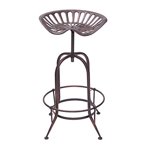 DecentHome Industrial Metal Corkscrew Rivet Adjustable Trackor Seat Design Bar Stool (Antique Bronze) - Hand Forged Iron Bar Stool