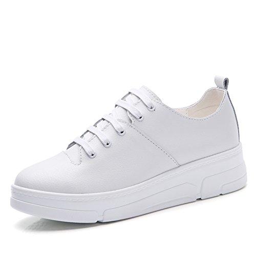 De E Tablero pequeños Otoño señora suela Zapatos ocio A Del Invierno Gruesa zapatos Blanco magdalenas zCqqw4