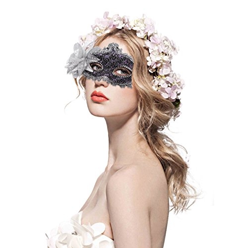 FaceWood Masquerade Mask Mardi Gras Mask for Women Handmade Venetian Party Prom Ball.(Grey)