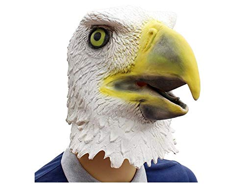 Hezon Happy Festival Tricky Eagle Mask Halloween Masquerade Funny Mask Head Cover (White) (Color : White, Size : 42X34X34cm)