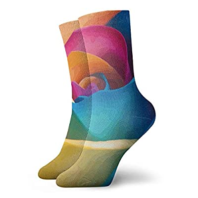 WEEDKEYCAT Rainbow Rose 3D Flowers Adult Short Socks Cotton Funny Socks for Mens Womens Yoga Hiking Cycling Running Soccer Sports